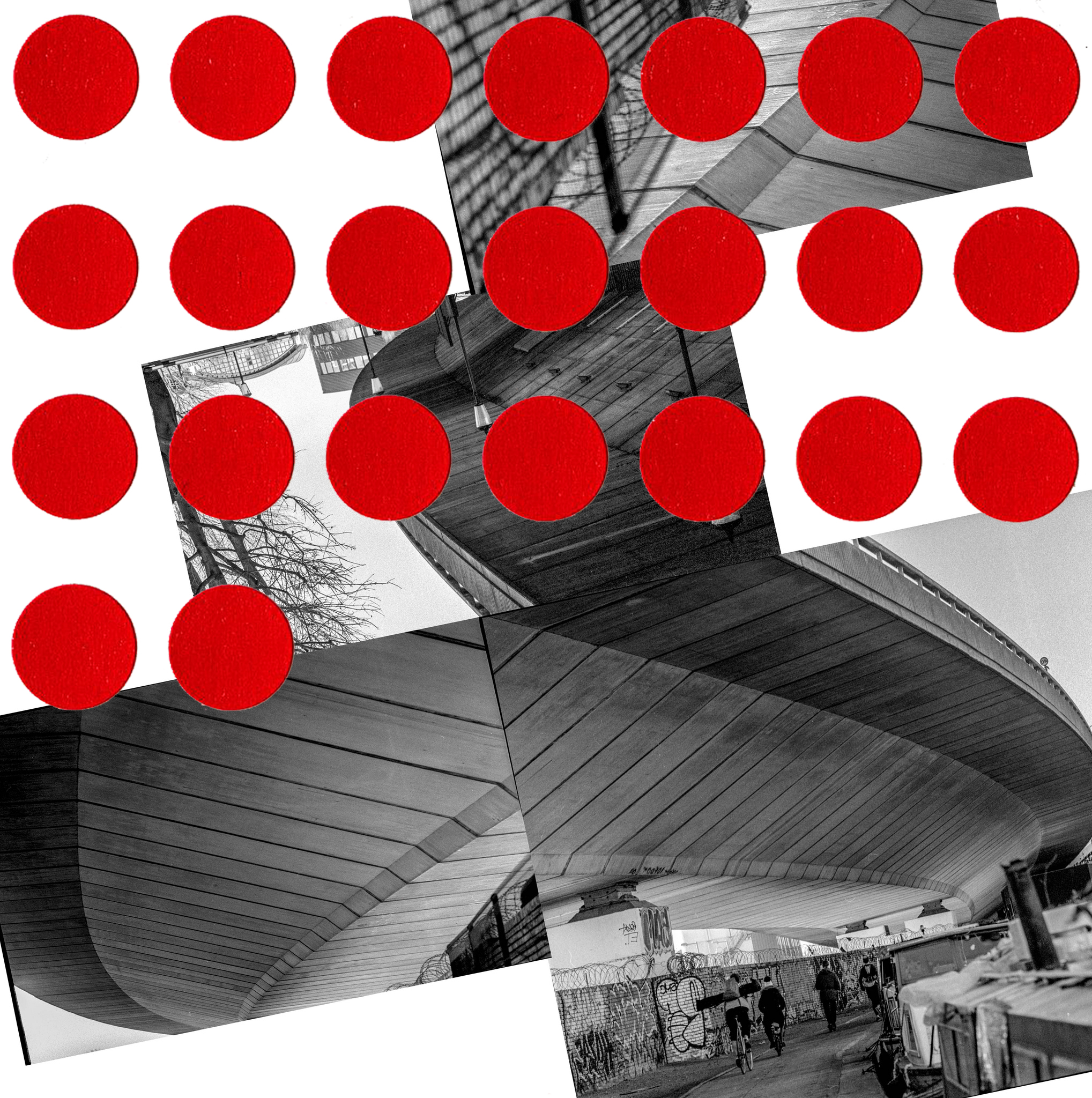 Collage black and white photographs of the Westway. Overlaid with Red dot stickers